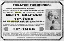 Aankondiging van de film met de Nederlandse titelTip–Toes, de Koningin vande Music-Hall, met Betty Balfour in De Telegraaf van donderdag 11 october 1923 (collectie EYE)